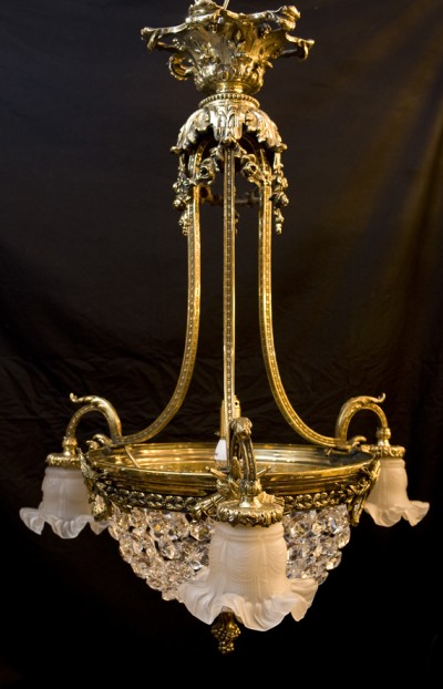 antique brass, crystal cut glass chandelier, fully restored