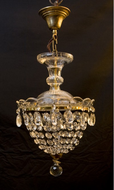 old bohemian crystal and cut glass pendant light