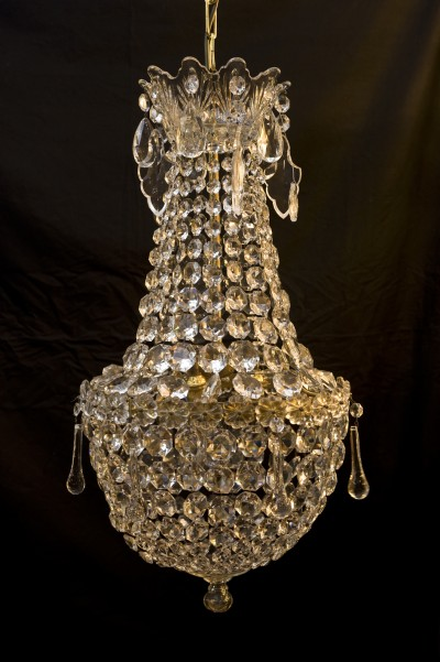 old bohemian crystal and cut glass tent and bag chandelier