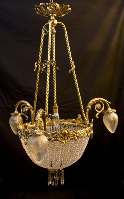 antique gilt brass, crystal and cut glass chandelier