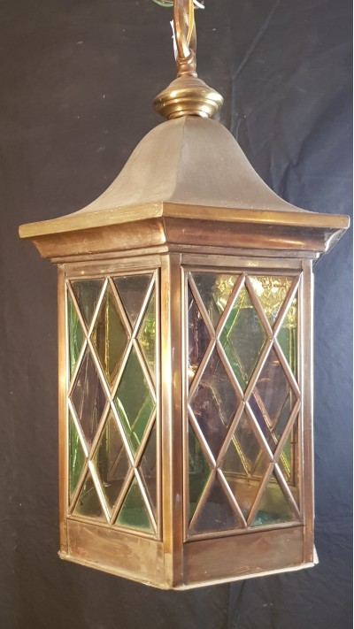 antique brass and leaded glass lantern