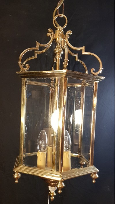 old brass and bevelled glass lantern date 1930-40s