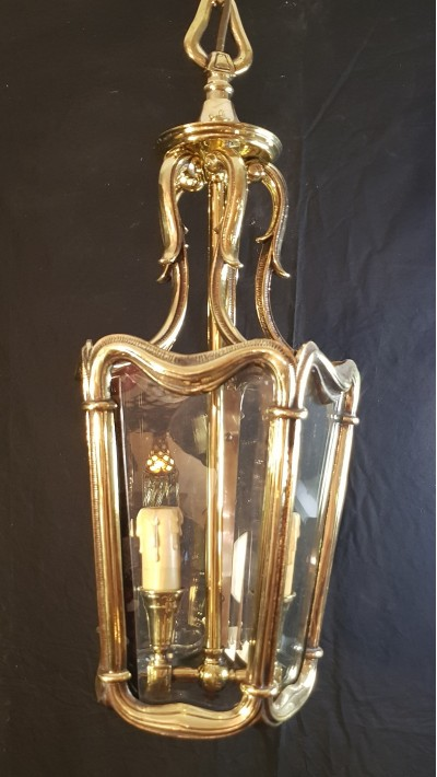 Beautiful old bronze and bevelled glass lantern, date 1920s