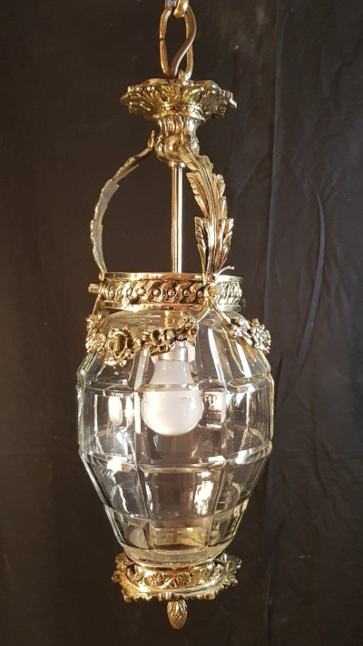 Antique brass and cut glass lantern, Date 1910-20